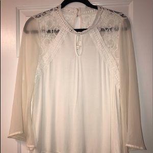 NWOT cream & White sheer long sleeve 2x